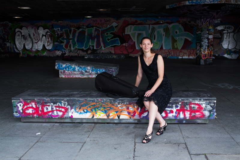 Lady sitting down in the skateboard park in London's Southbank