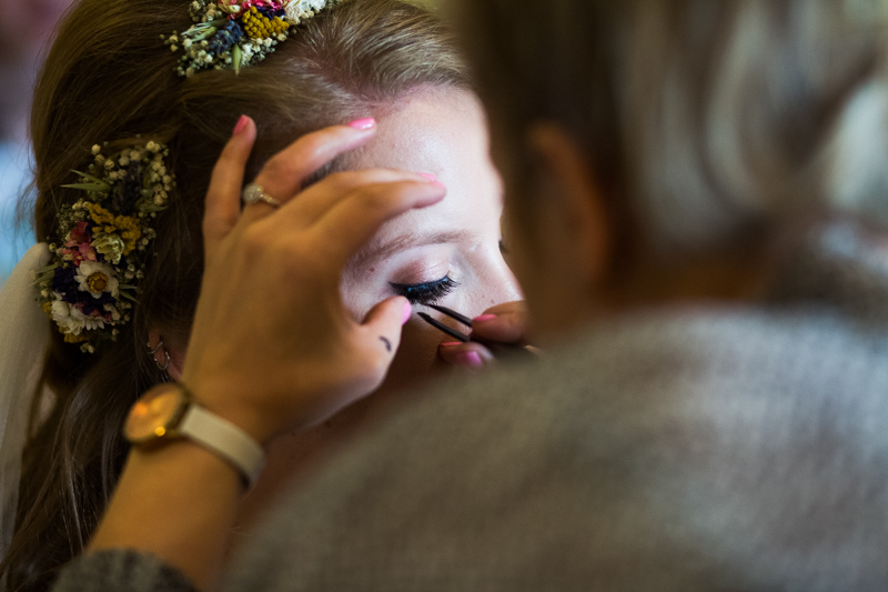 Bride having her make up done at Bedford Arms Hotel