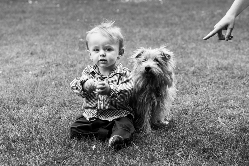 Boy and dog sitting on grass, with a finger pointing at them.