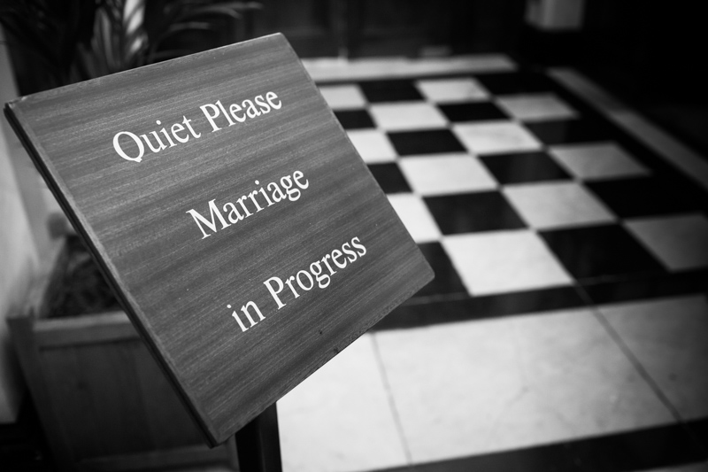 Quite Marriage in Progress sign.