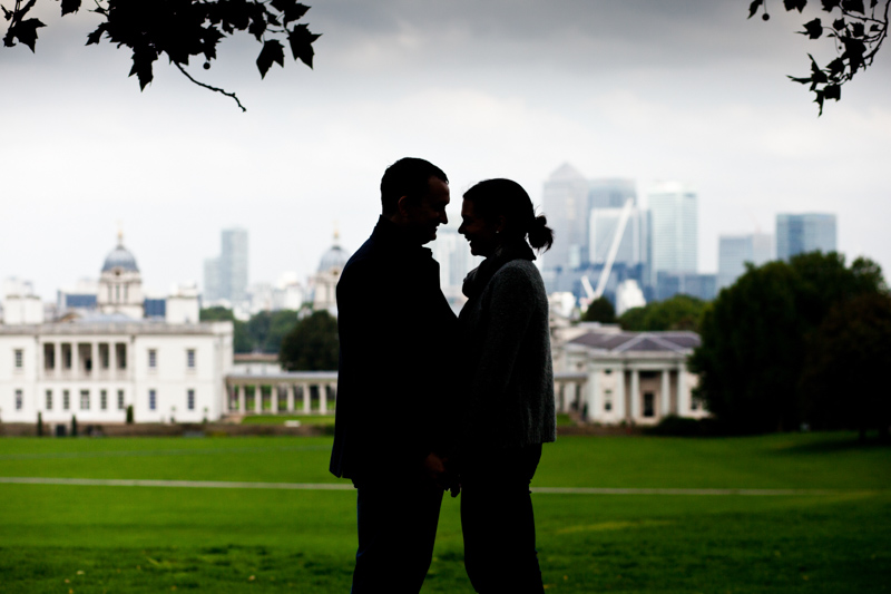 Silhouette of couple with the London skyline in the background.