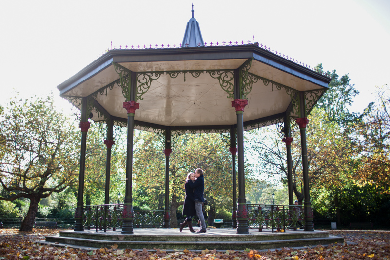 Couple in bandstand.