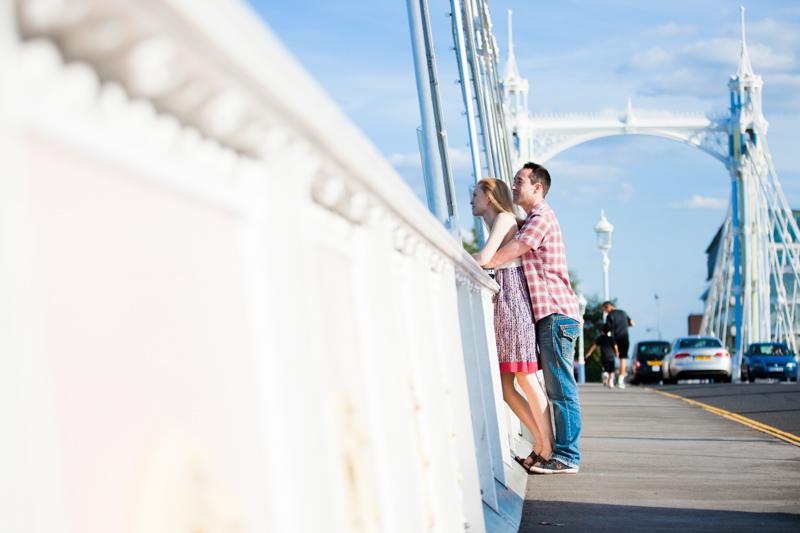 Couple standing on Albert Bridge London