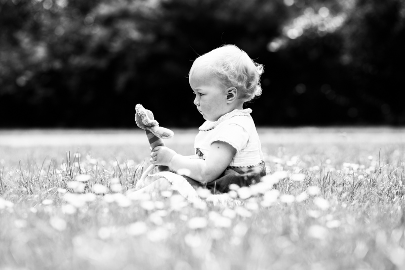 Little baby girl sitting in grass full of daisies looking at cuddly toy.
