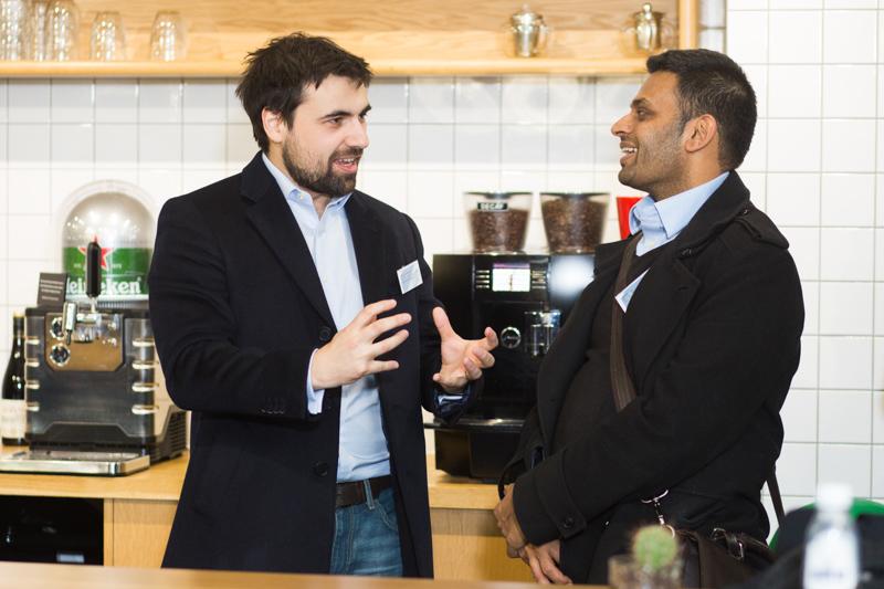 Two men having a chat.