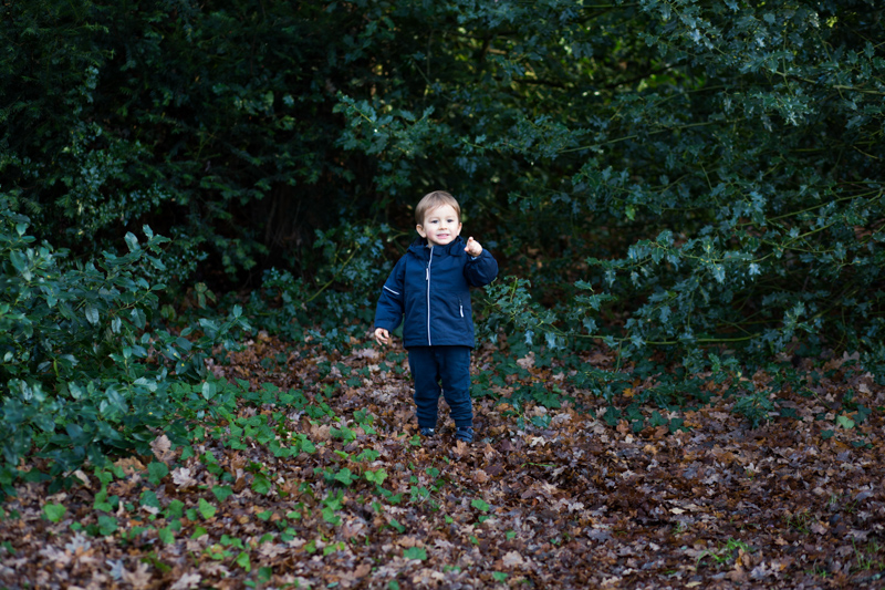 Little boy standing in leaves in front of trees.