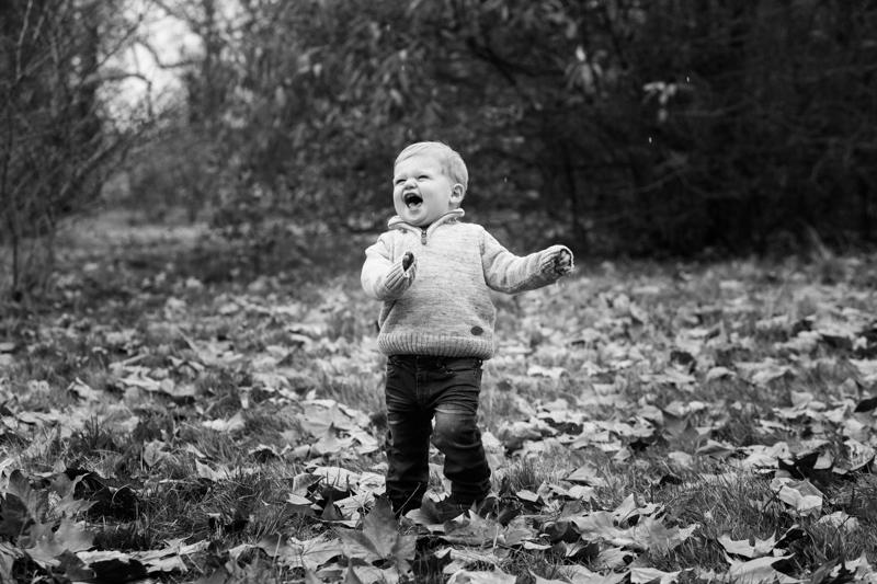 Boy laughing while standing in lots of autumn leaves.