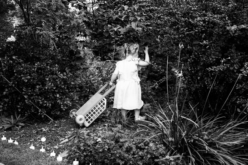 Little girl pulling a trolley into some bushes.