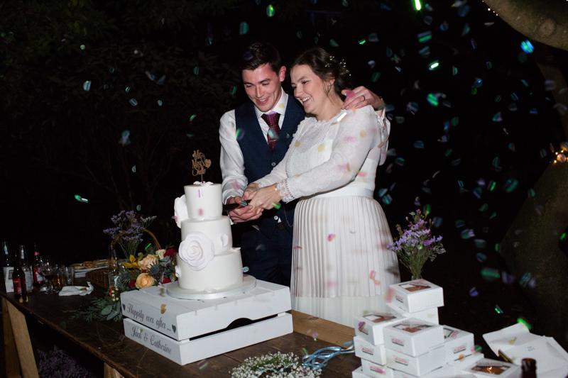 Bride and groom cutting wedding cake.