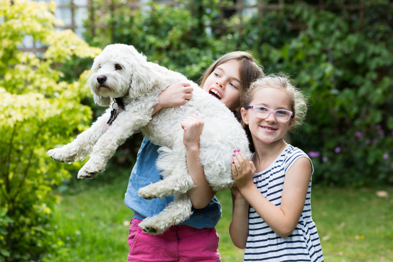 two girls holding a white dog