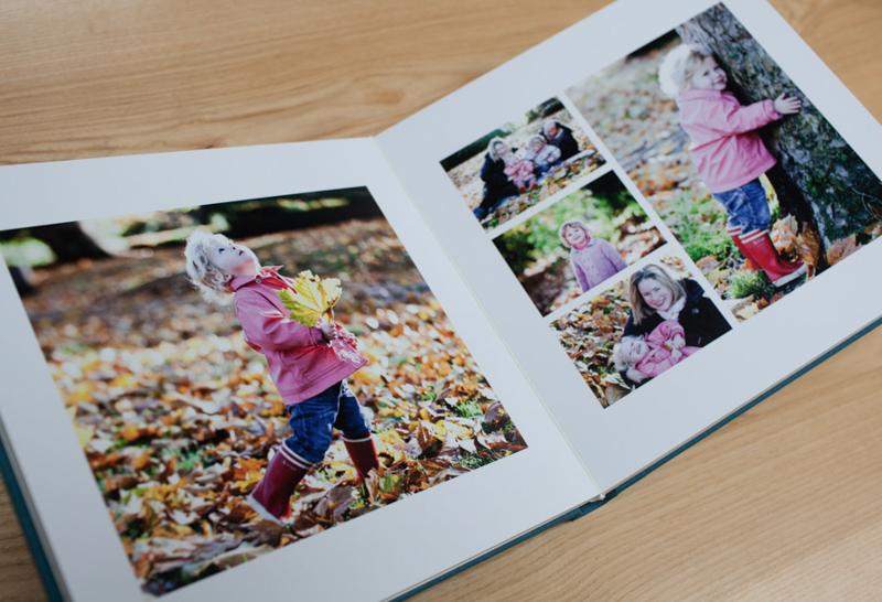 an open spread of a family photo album