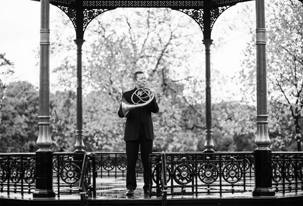 Musician in band stand